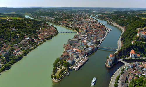 Passau Dreiflüssestadt Straße Der Kaiser Und Könige