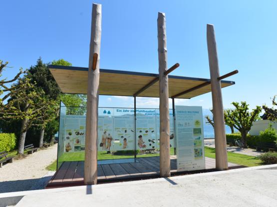 Pfahlbau Pavillon Atterseeckuratorium Pfahlbauten